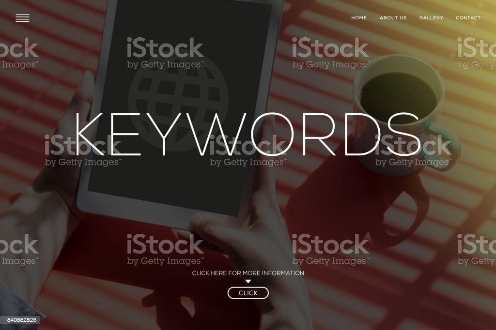 KEYWORDS CONCEPT stock photo