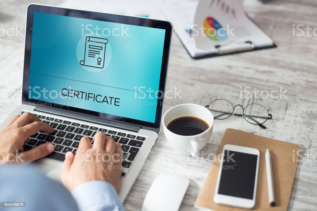 CERTIFICATE CONCEPT stock photo