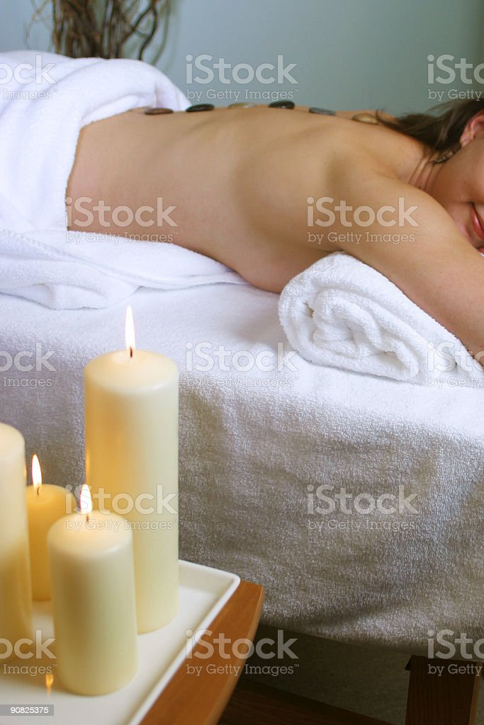 HOT STONE THERAPY royalty-free stock photo