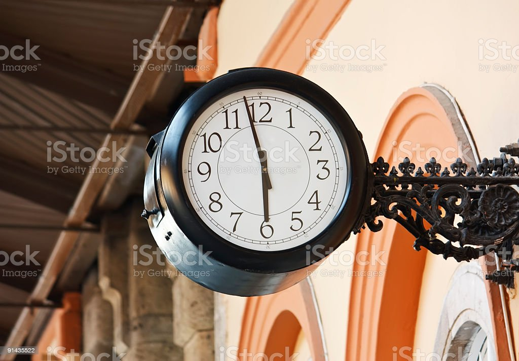 clock on vintage wall royalty-free stock photo