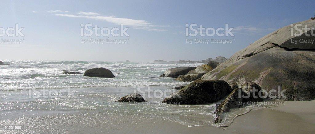 SEA, BEACH  AND ROCKS royalty-free stock photo