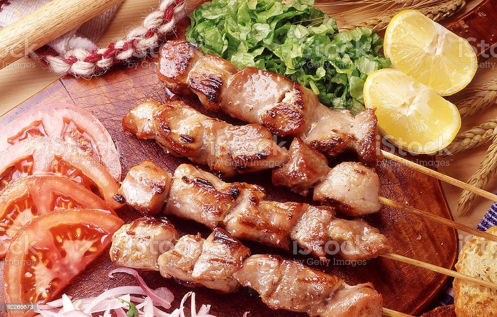 GREEK SOUVLAKI FOOD stock photo