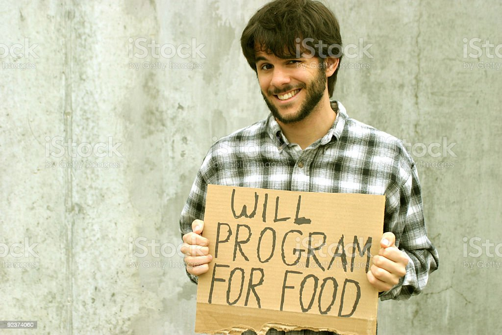 WILL PROGRAM FOR FOOD royalty-free stock photo