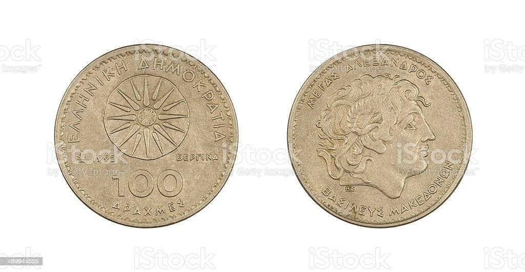 100-Drachmes-Coin, Greece, 1992 stock photo
