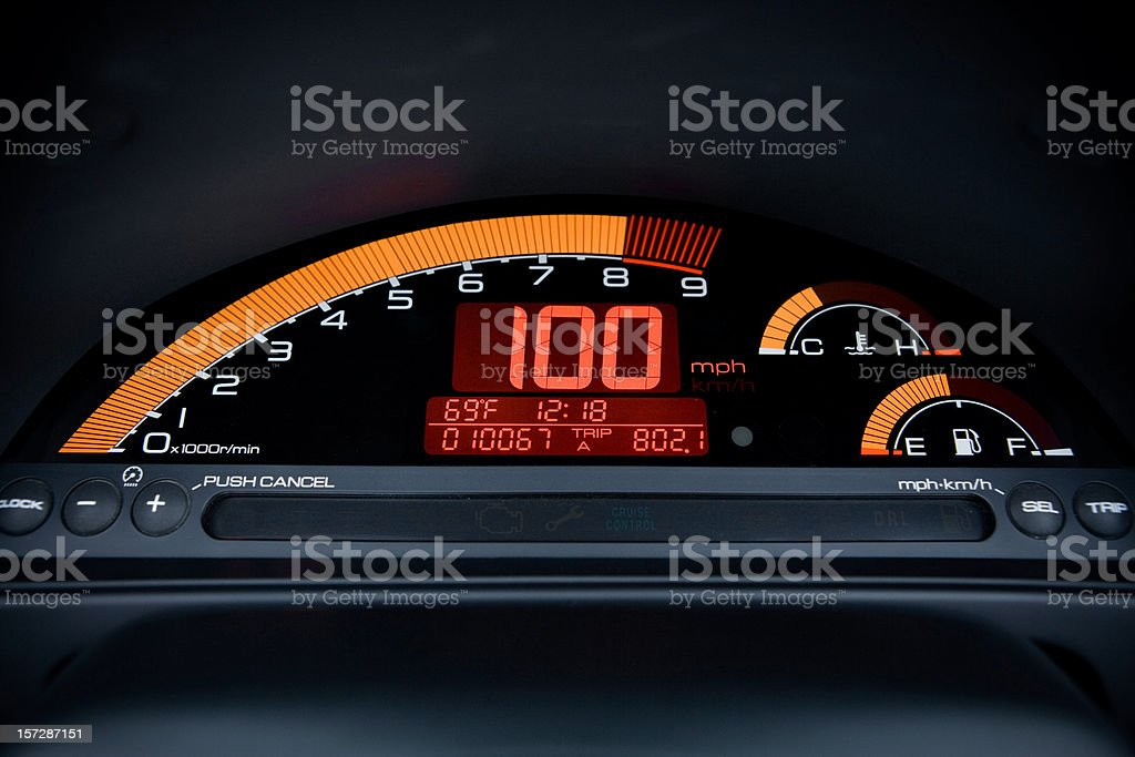 100mph digital car gauge stock photo