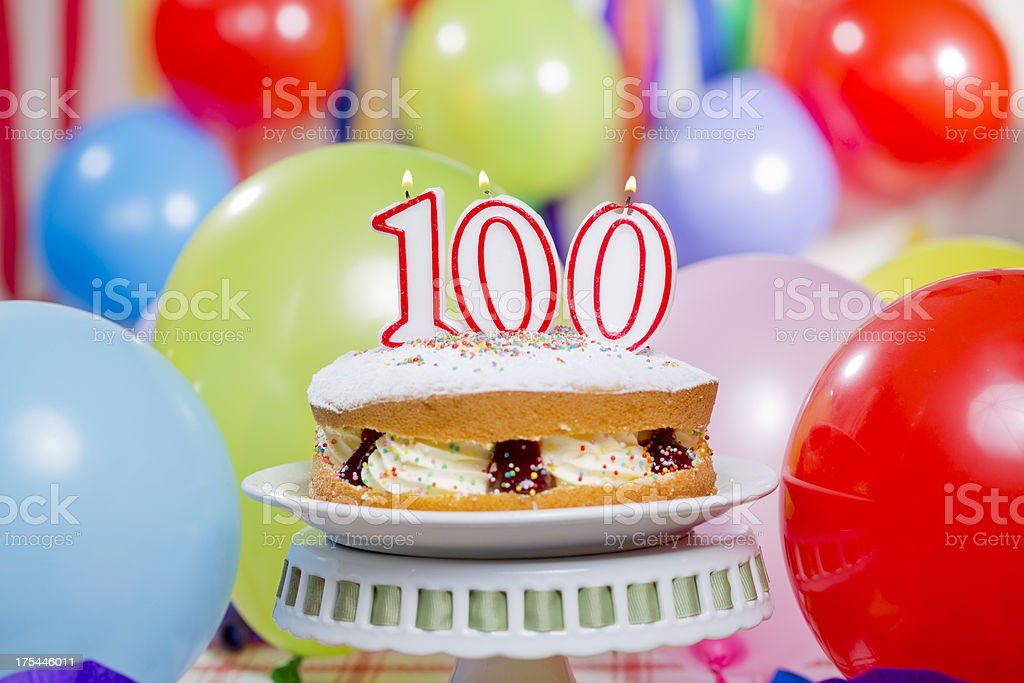 100th Birthday Cake Candles stock photo