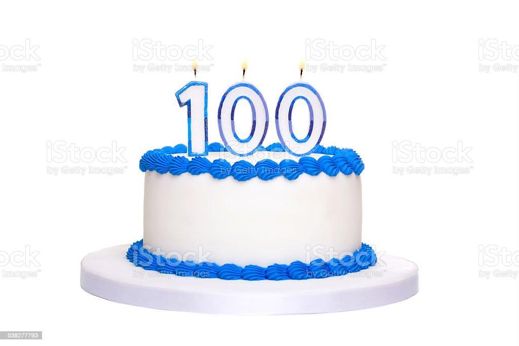 100th birthday cake stock photo