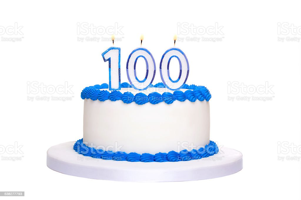 100th birthday cake stock photo