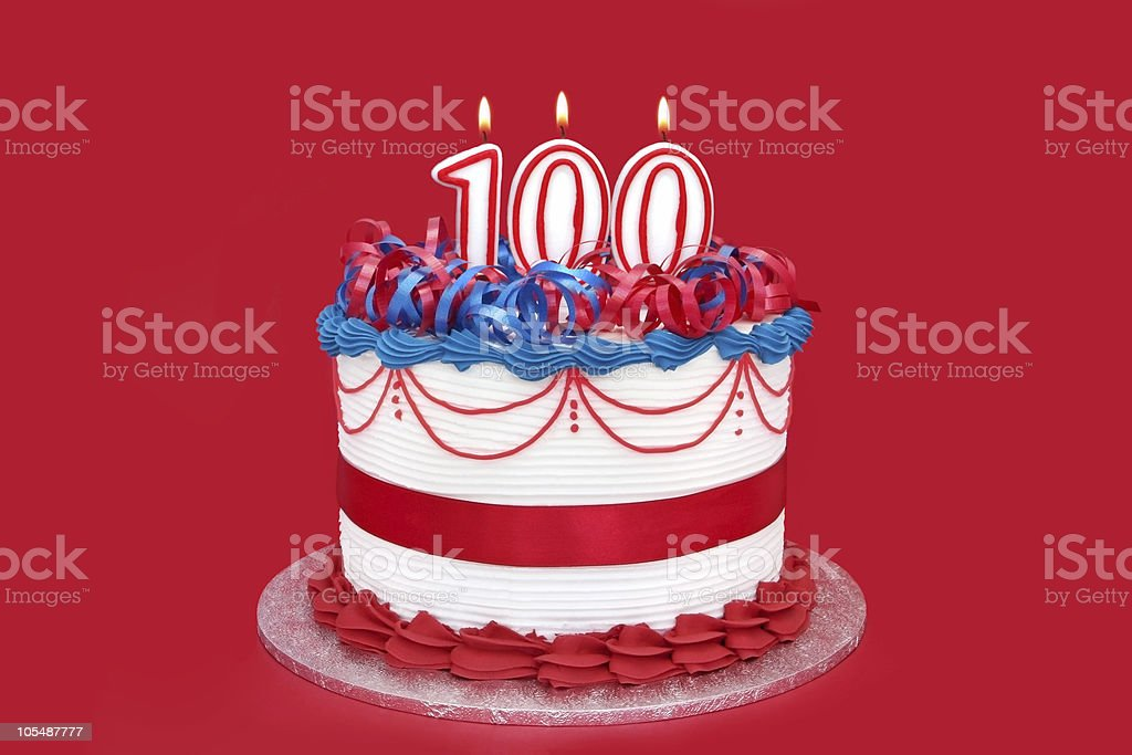 100th Cake stock photo