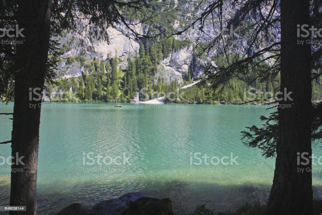 104_Braies Lake stock photo