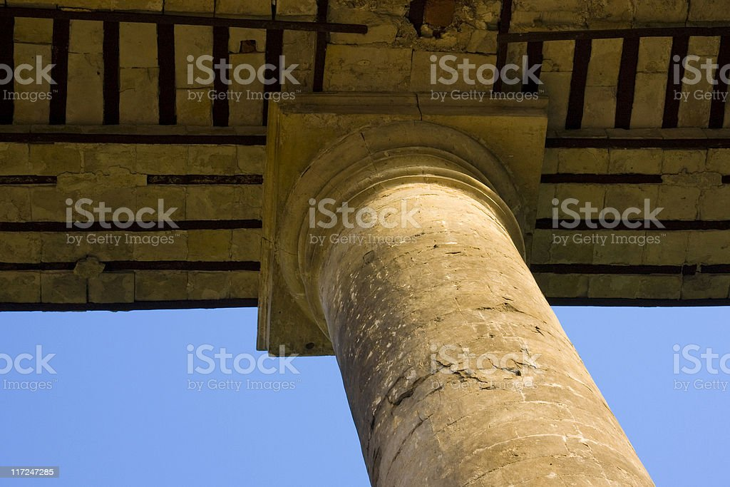 Сolumn of Ancient Wall in abandoned estate «Petrovskoe». stock photo