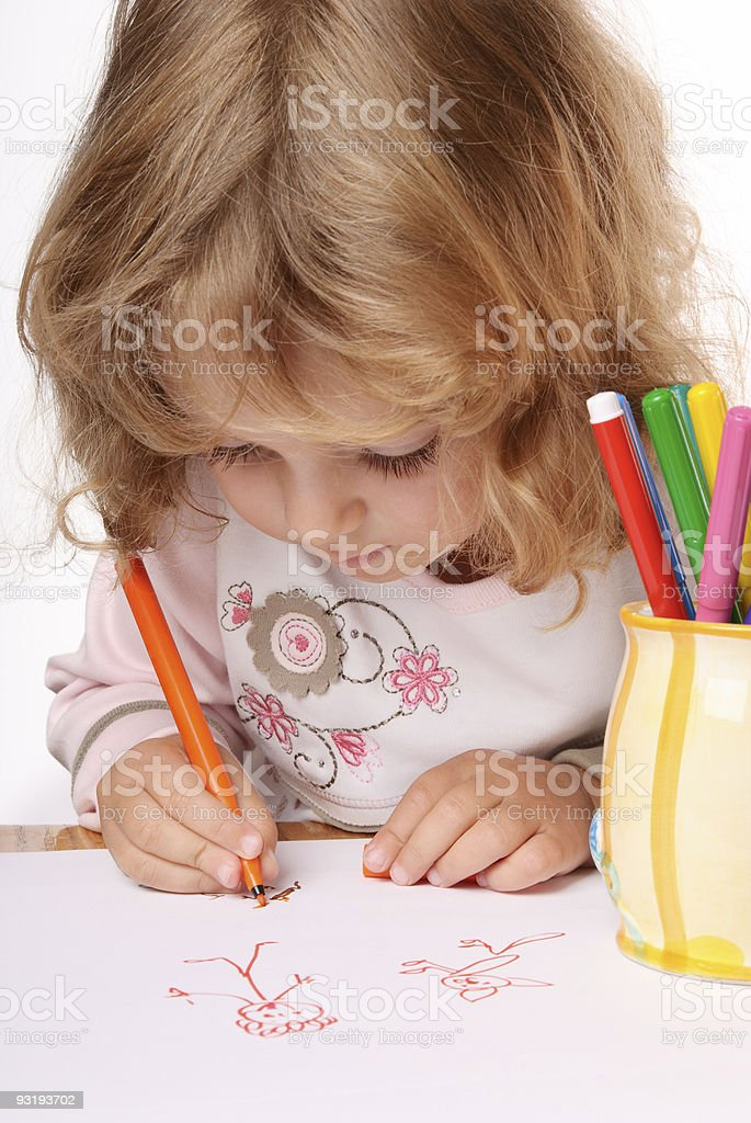 Сute small girl painting a picture royalty-free stock photo