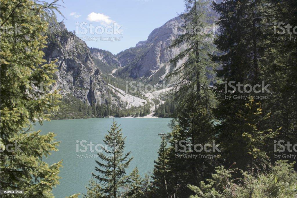 106_Braies Lake stock photo
