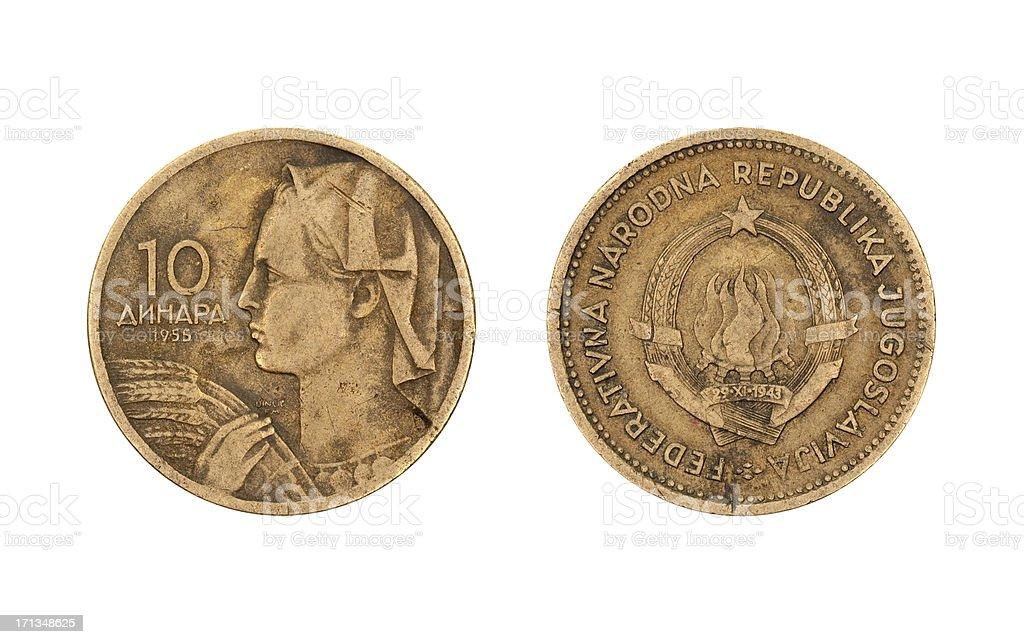 10-Dinar-Coin, Yugoslavia, 1955 royalty-free stock photo