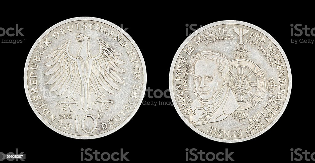 10-Mark-Coin, Germany, 1992 stock photo