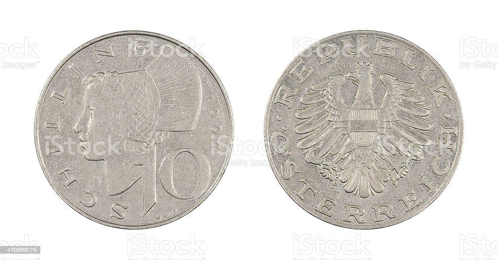 10-Schilling-Coin, Austria, 1994 stock photo