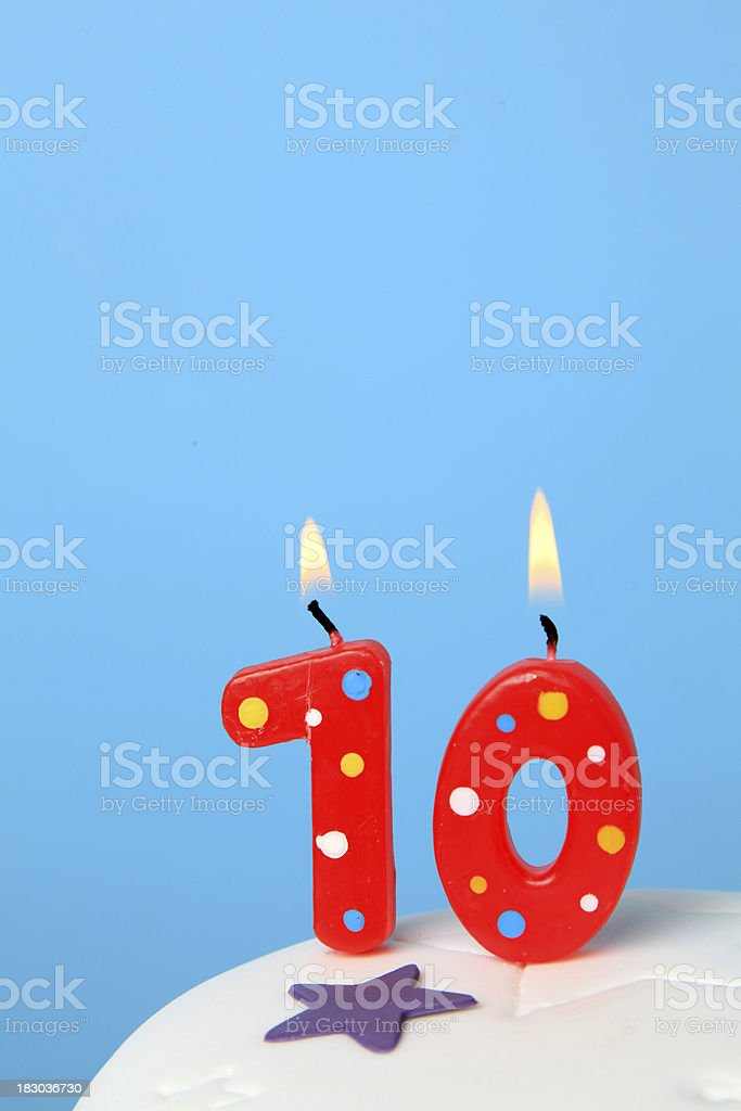 10th Birthday candles royalty-free stock photo