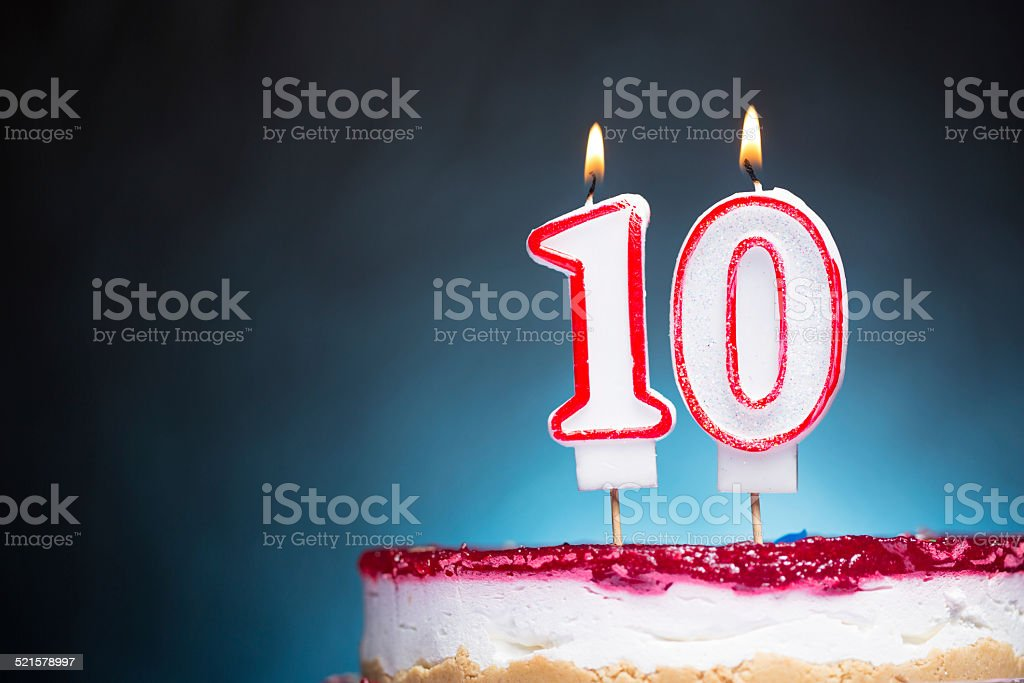 10th Birthday candles stock photo