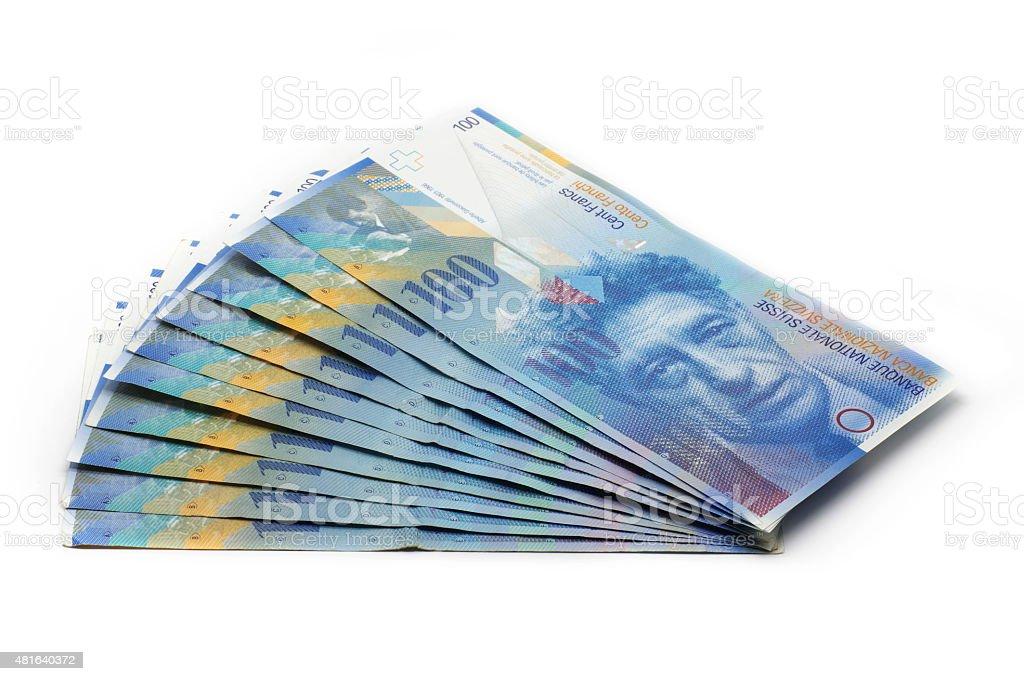 10x 100 CHF Tickets - 1000 stock photo