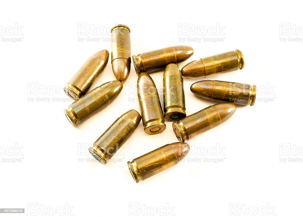 11mm bullets short gun. 45 Automatic Colt Pistol (ACP) bullets stock photo