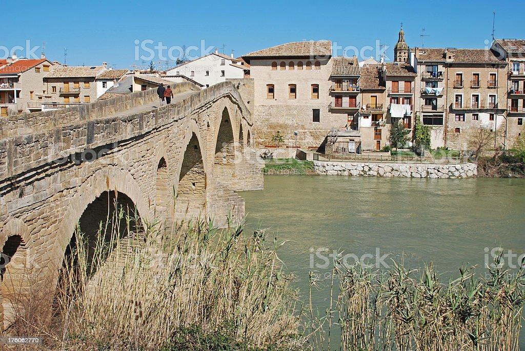11th century bridge at Puente la Reina in Spain royalty-free stock photo