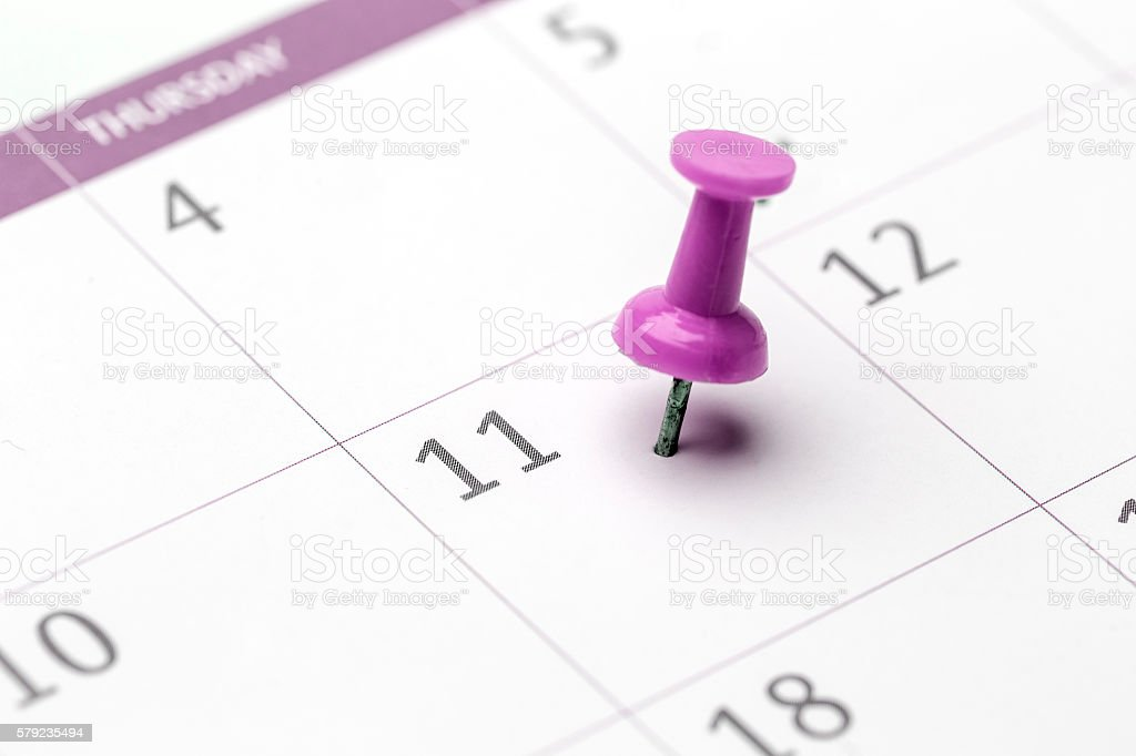 11th of the month marked on calendar stock photo