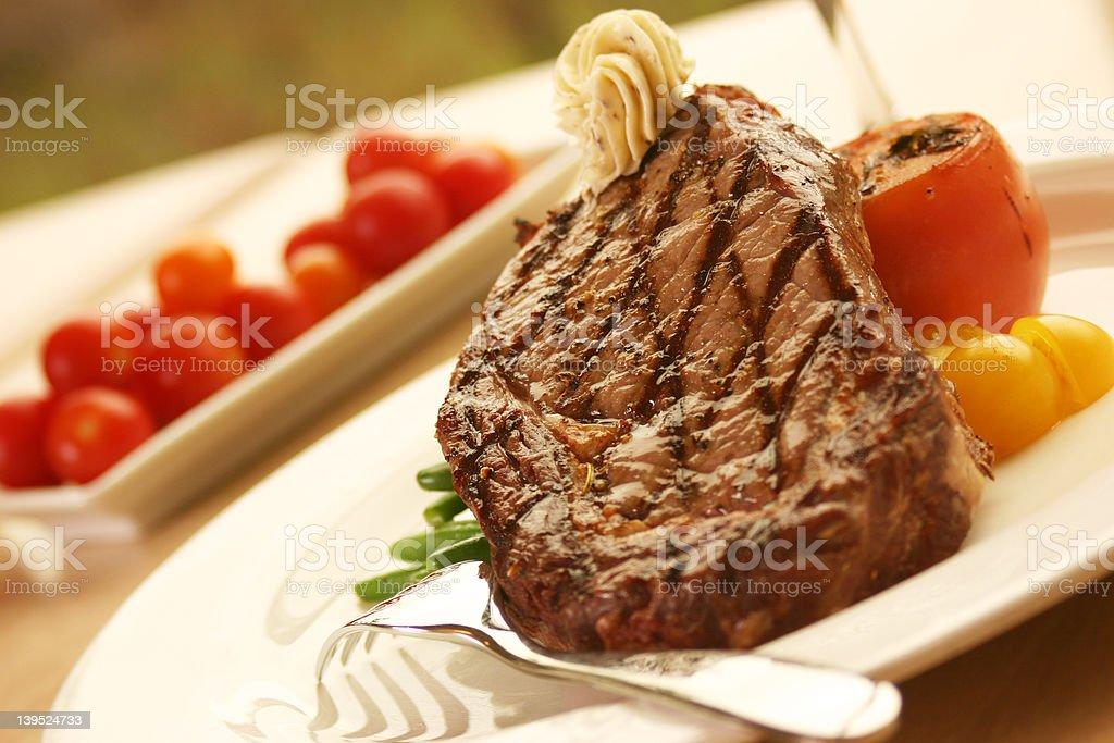 12oz Rib Eye Steak stock photo