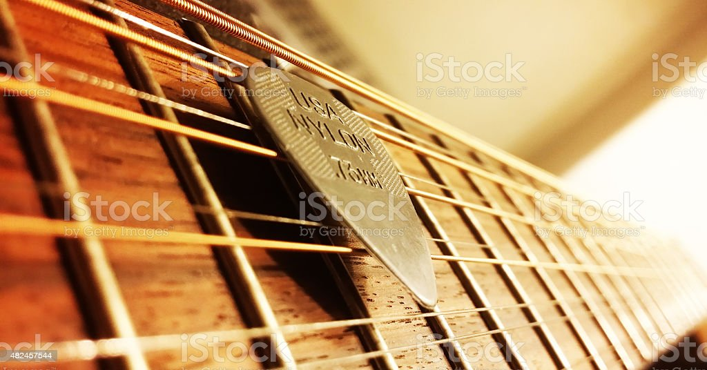 12-String Guitar with Generic Pick stock photo