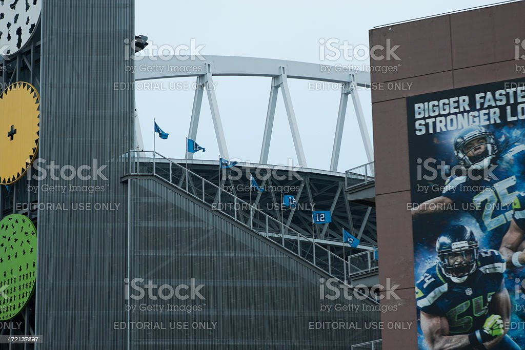 12th Man Flags At Centurylink Stadium stock photo