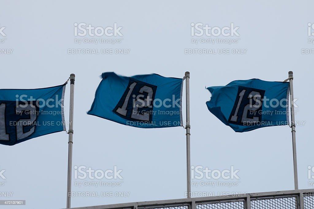 12th Man Flags on Stadium stock photo