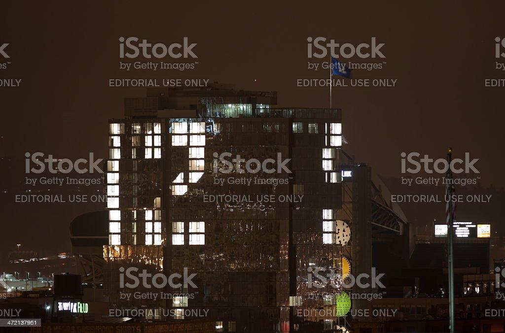 12th Man Sign on Building Near Stadium stock photo