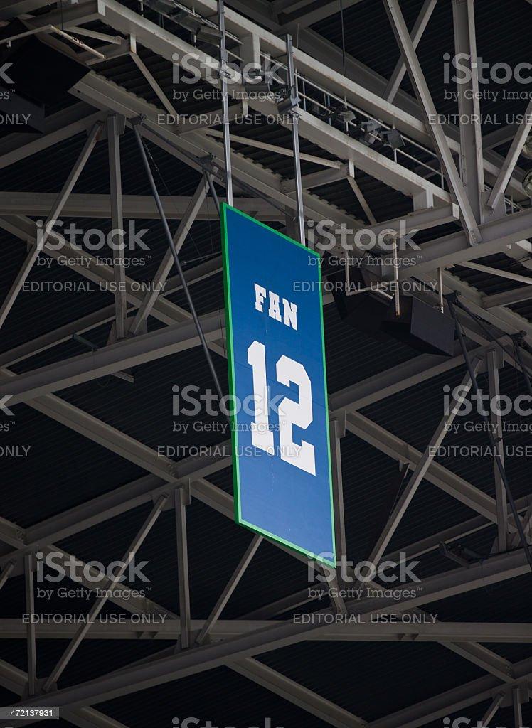 12th Man Sign on Stadium stock photo