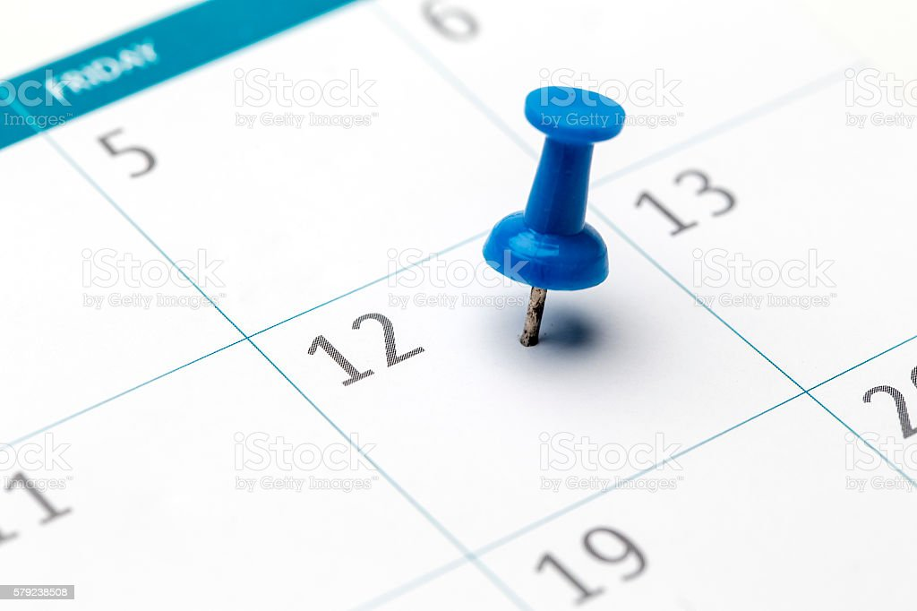 12th of the month marked on calendar stock photo