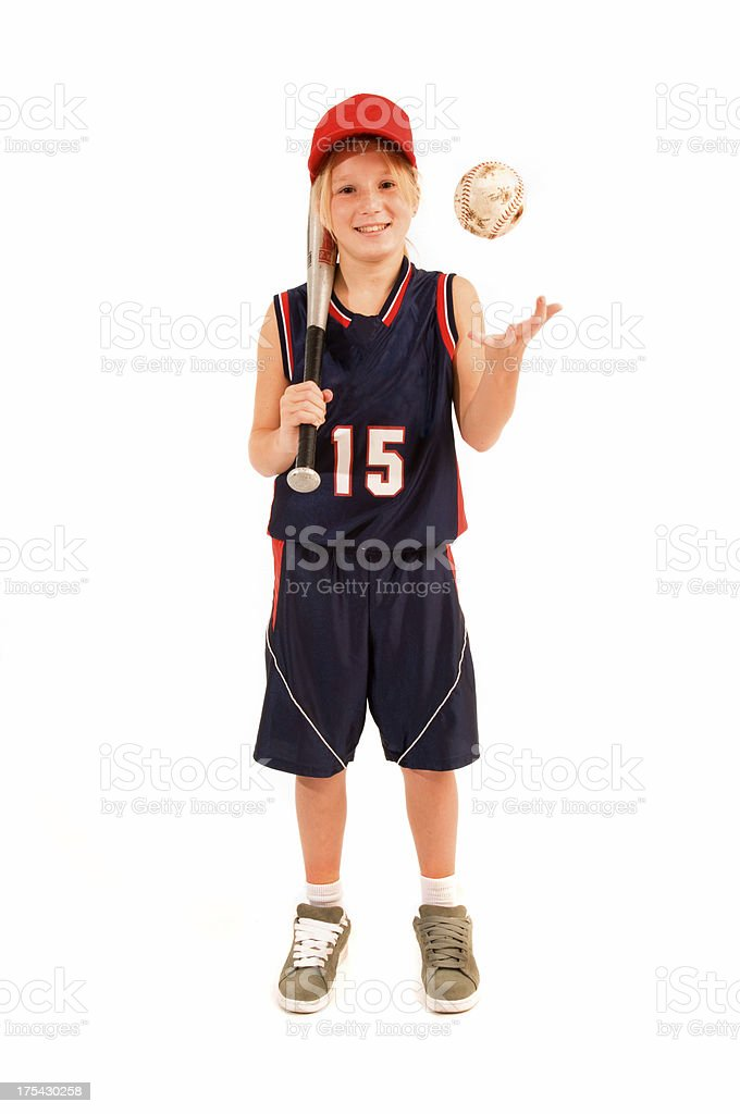 12-year girl softball player royalty-free stock photo