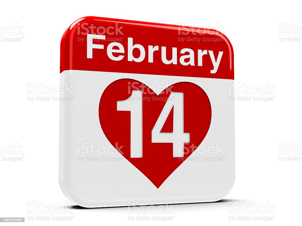 14th February with heart stock photo