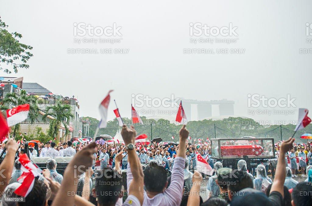 15-mile Farewell Lee Kuan Yew stock photo