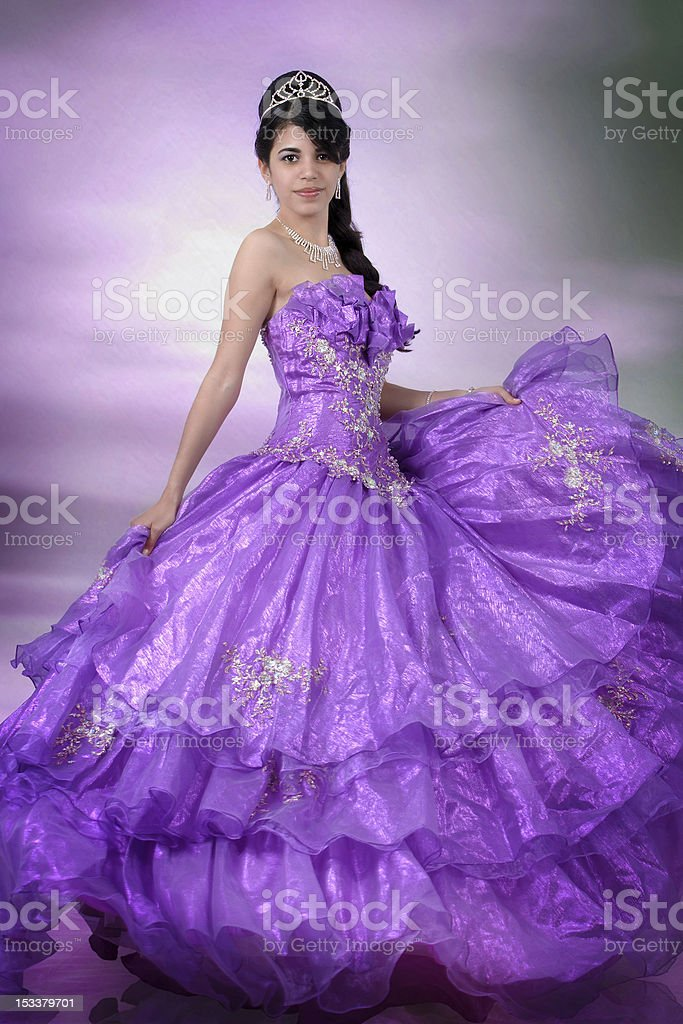 15th Anniversary Portrait- Holding the Purple Dress royalty-free stock photo