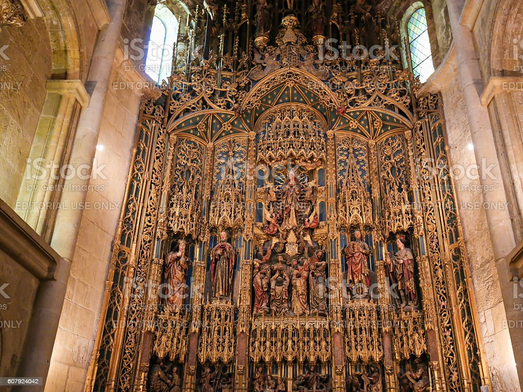 15th century retable in Coimbra Old Cathedral or Se Velha stock photo