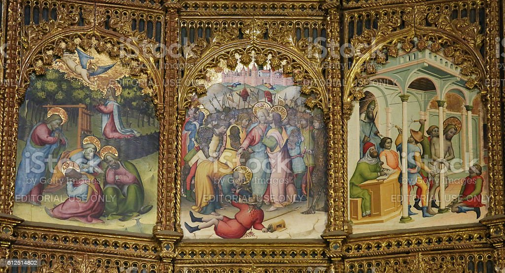 15th Century Retable of the Old Cathedral of Salamanca stock photo