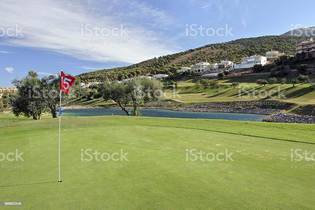 15th Green at Alhaurin golf course on the Costa del Sol royalty-free stock photo