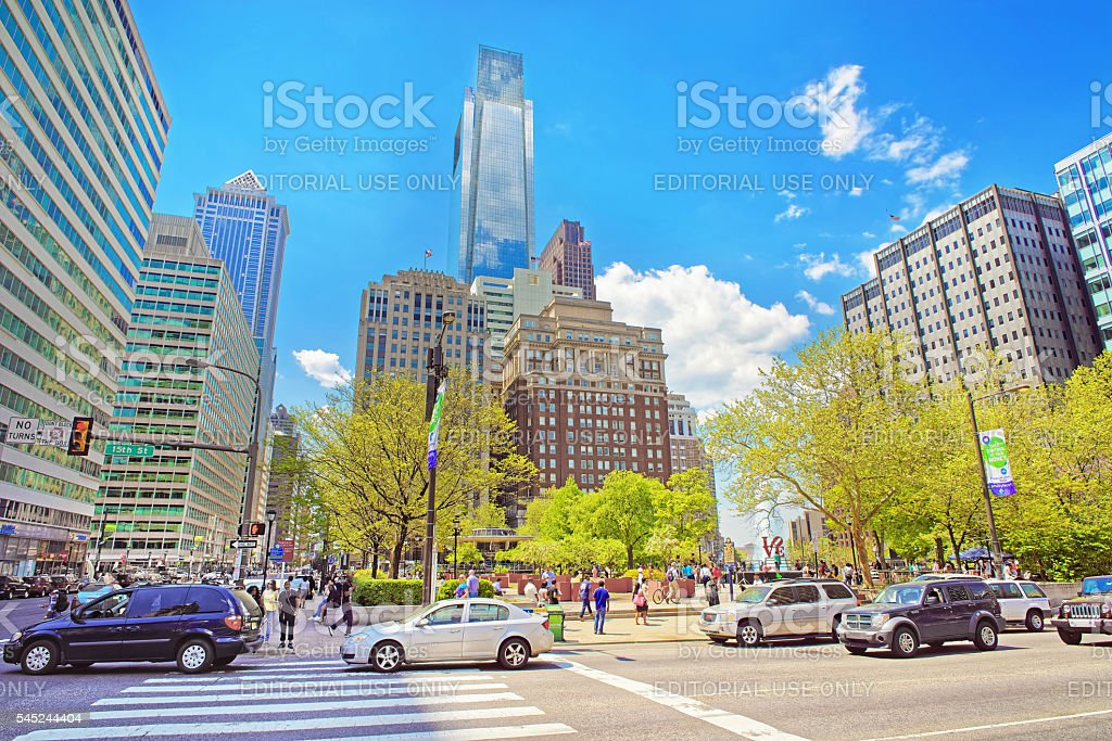 15th Street view on Love Park with Fountain in Philadelphia stock photo