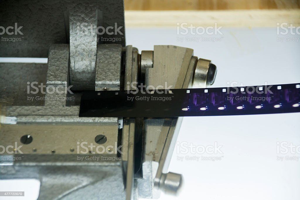 16mm film cutter edition stock photo