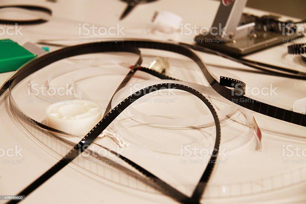 16mm film editing stock photo
