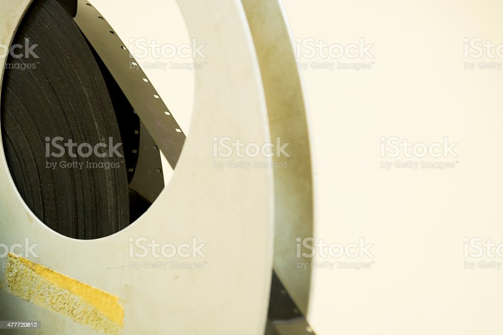 16mm film in a very old reel stock photo