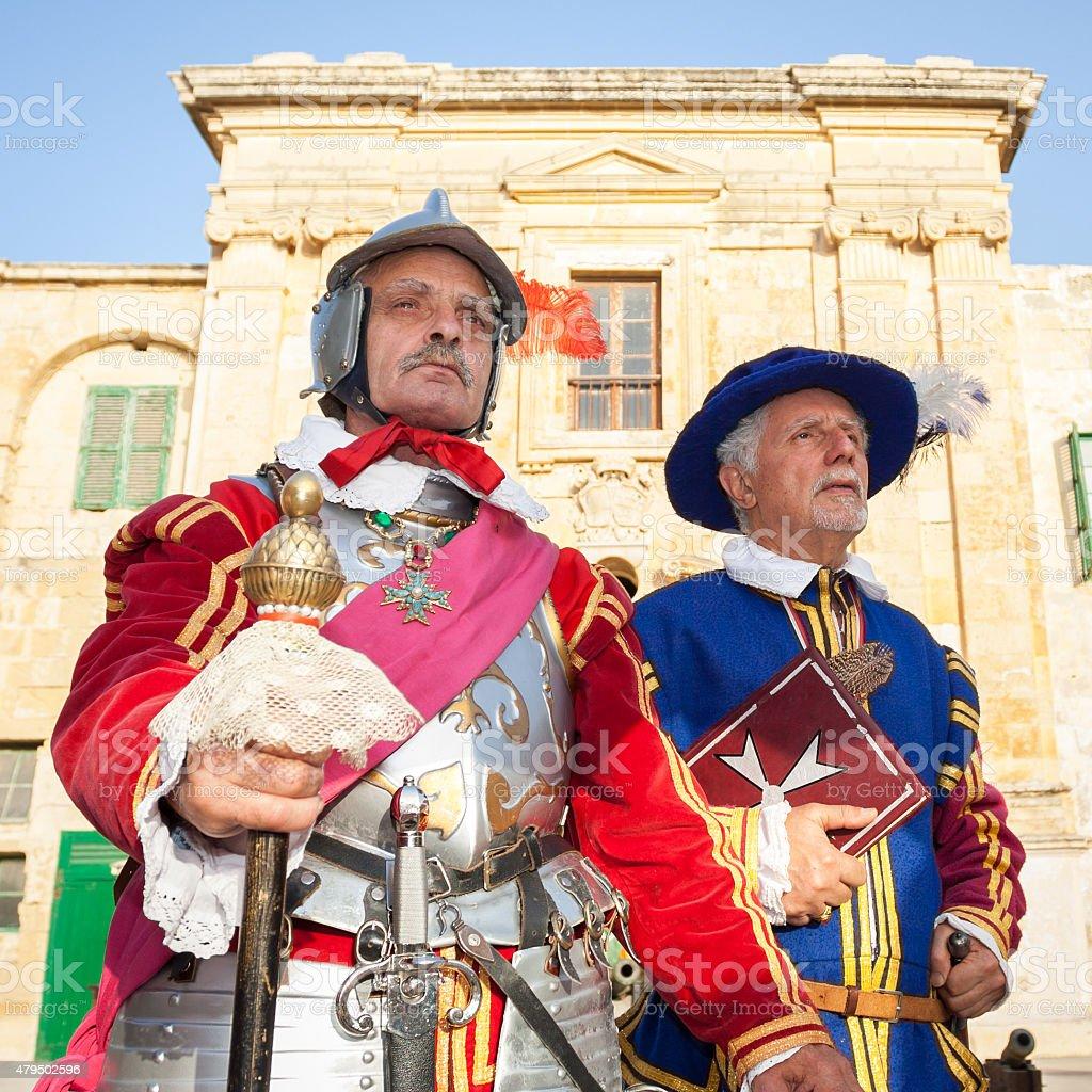 16th Century Military Knights at Fort Saint Elmo, Valletta, Malta stock photo