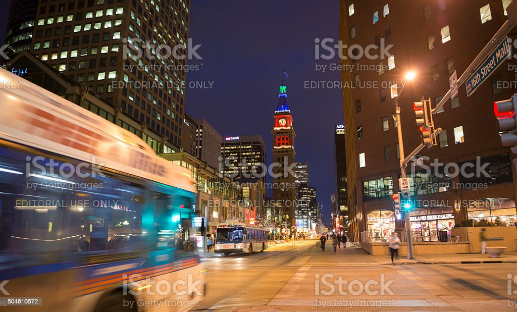 16th Street and Larimer in Denver Colorado at night stock photo