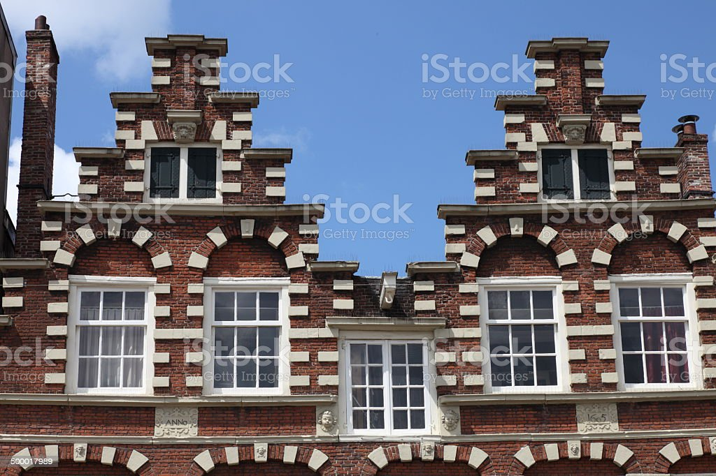 17th Century Houses with Staircase Wall royalty-free stock photo