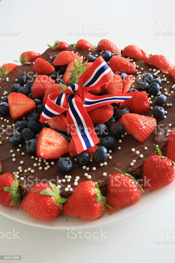 17th of May celebration cake in Norway stock photo