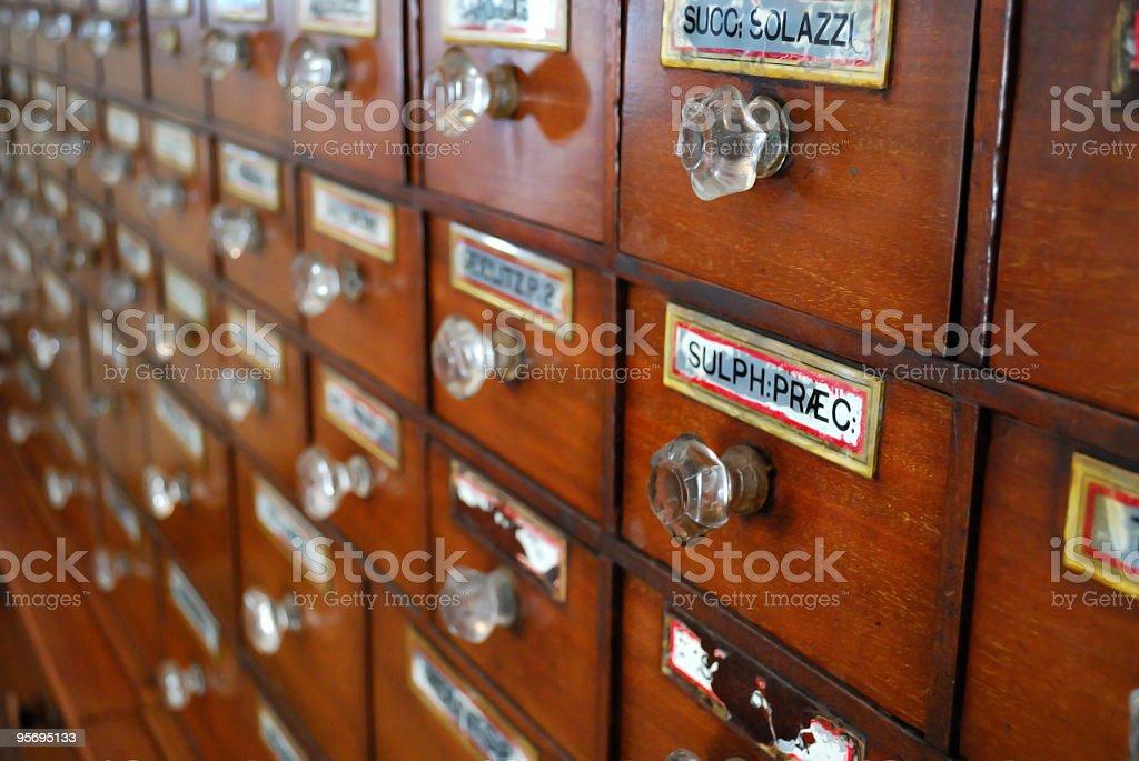 1800s Medicine Supply Cabinet Right Focus stock photo