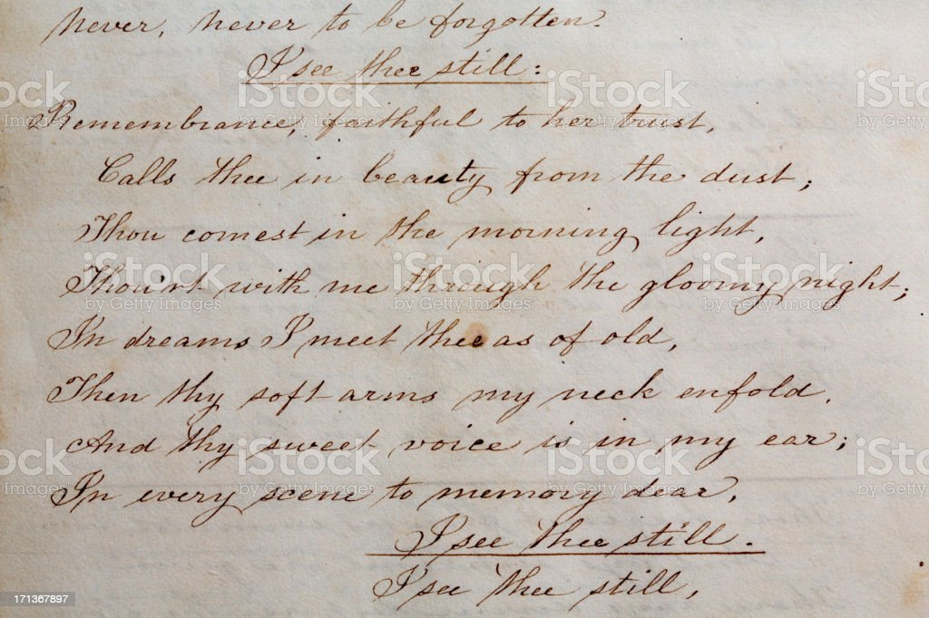 1800s Poem stock photo